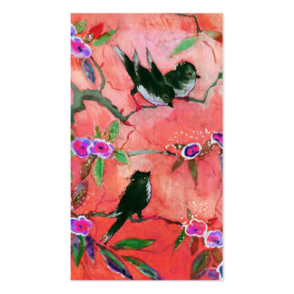Morning Colors: Bird Painting in Peach and Fuchsia Pack Of Standard Business Cards