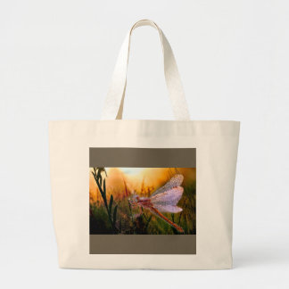 Morning Dew on Dragonfly Large Tote Bag