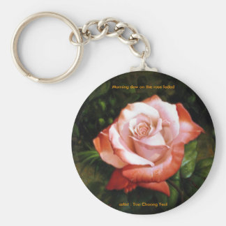 Morning dew on the rose faded Keychain