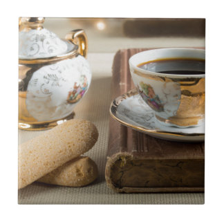 Morning espresso and cookies savoiardi ceramic tile