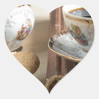 Morning espresso and cookies savoiardi heart sticker