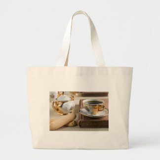 Morning espresso and cookies savoiardi large tote bag