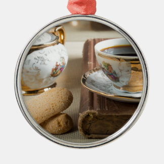 Morning espresso and cookies savoiardi metal ornament