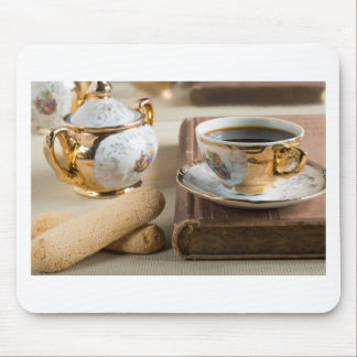 Morning espresso and cookies savoiardi mouse pad