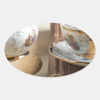 Morning espresso and cookies savoiardi oval sticker