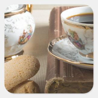 Morning espresso and cookies savoiardi square sticker