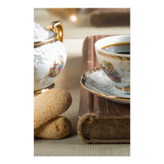 Morning espresso and cookies savoiardi stationery