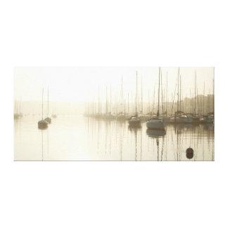 Morning Fog and Sailboats at the Marina Art Canvas