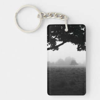 Morning Fog Emerging From Trees Double-Sided Rectangular Acrylic Key Ring