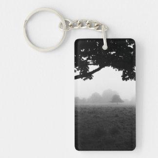 Morning Fog Emerging From Trees Key Ring