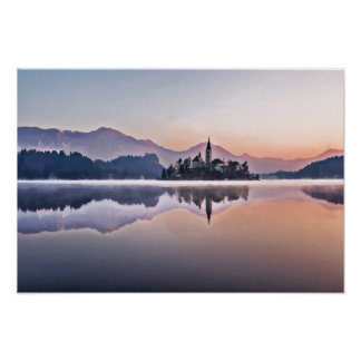 Morning Fog on Lake with Castle in Bled Slovenia Poster