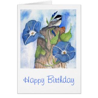 Morning Glories and Chickadee Card