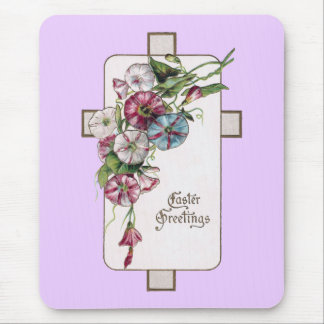 Morning Glories and Cross Vintage Easter Mouse Pad