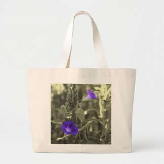 Morning Glories Black White Flower Tote Bag