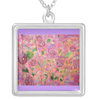 morning glories blue and purple square pendant necklace