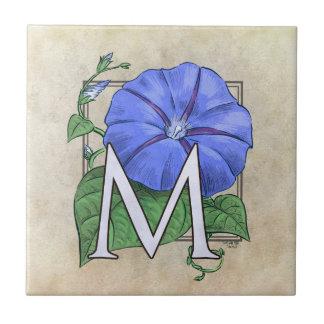 Morning Glories Flower Monogram Small Square Tile
