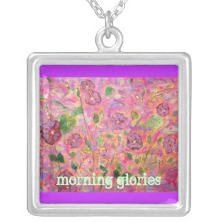 morning glories square pendant necklace