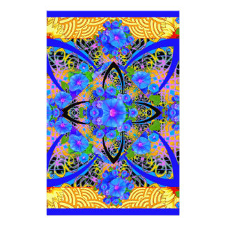 Morning Glories Yellow  Blue  Art Deco Patterns Stationery