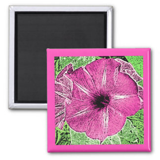 Morning Glory Block Print - fuchsia pink Square Magnet