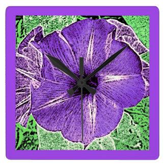 Morning Glory Block Print - soft violet Clock
