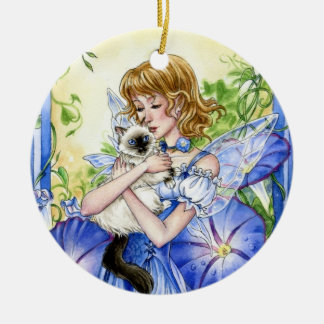 Morning Glory Fairy and Cat ornament