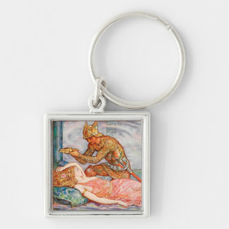Morning Glory Fairy Silver-Colored Square Key Ring