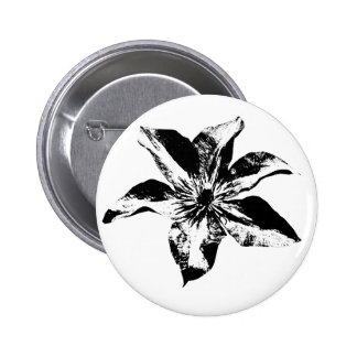 Morning Glory Flower Black and White Button