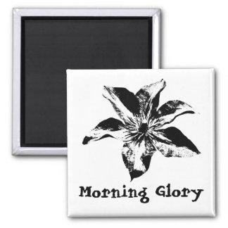 Morning Glory Flower Black and White Magnet