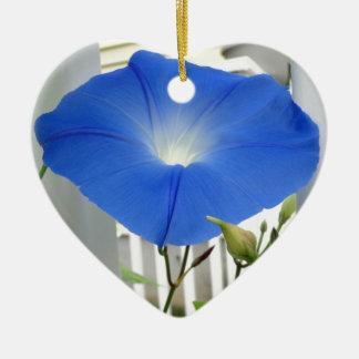 Morning Glory Flower Ceramic Heart Decoration