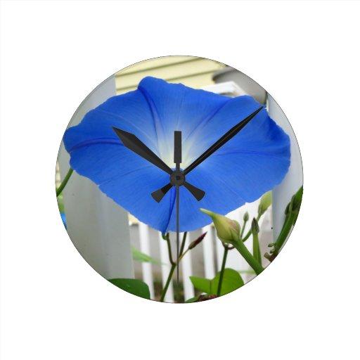 Morning Glory Flower Round Wall Clocks