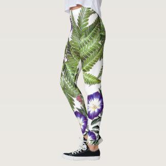 Morning Glory Flower Ferns All Over Print Leggings