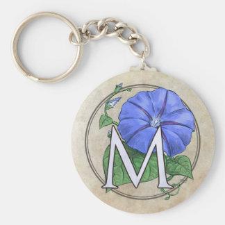 Morning Glory Flower Monogram Basic Round Button Key Ring