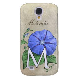Morning Glory Flower Monogram Samsung Galaxy S4 Case