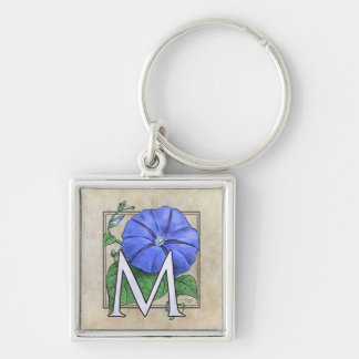 Morning Glory Flower Monogram Silver-Colored Square Key Ring