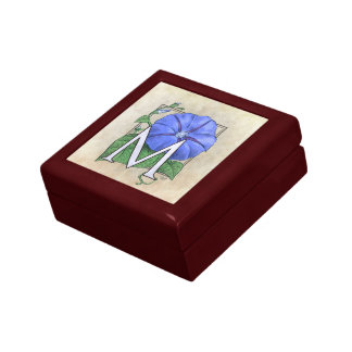 Morning Glory Flower Monogram Small Square Gift Box
