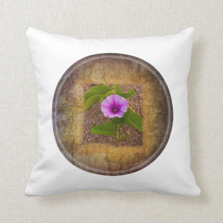 Morning glory flower on textured background pillow