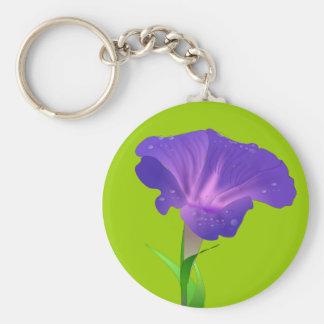 Morning Glory Flower Purple Keychain