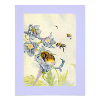 Morning Glory Flowers & Honey Bees Save The Date Invite
