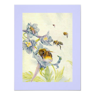 Morning Glory Flowers & Honey Bees Save The Date 4.25x5.5 Paper Invitation Card