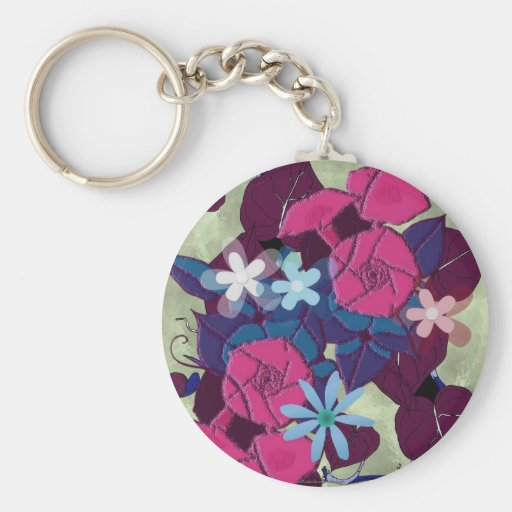 Morning glory flowers key chains