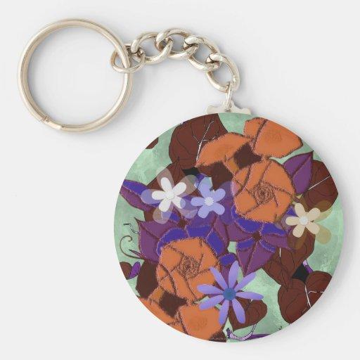 Morning glory flowers key chain