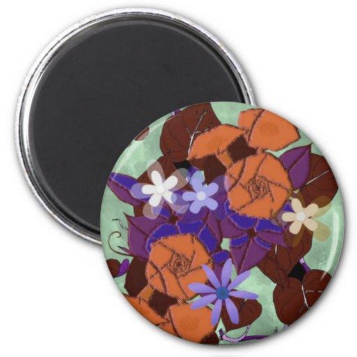 Morning glory flowers fridge magnets