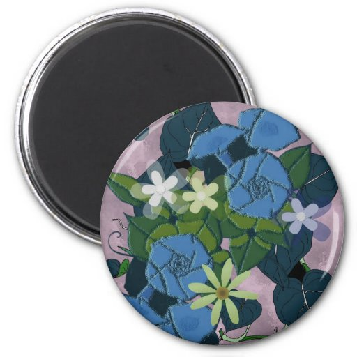 Morning glory flowers refrigerator magnet