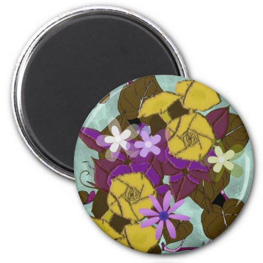 Morning glory flowers refrigerator magnets