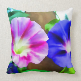 Morning Glory Flowers Throw Pillow Cushion