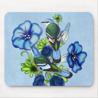 Morning Glory Garden with Green Cochoa Birds Mouse Pad