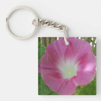 Morning Glory Pink Double-Sided Square Acrylic Key Ring