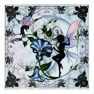 Morning Glory Shadow Fairy and Cosmic Cat Acrylic Wall Art