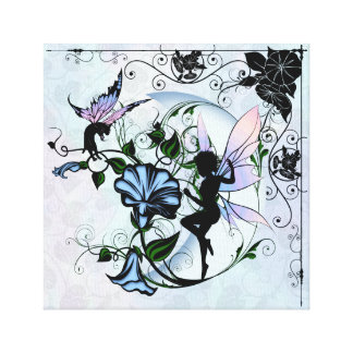 Morning Glory Shadow Fairy and Cosmic Cat Canvas Print