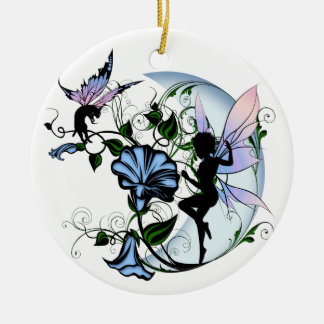 Morning Glory Shadow Fairy and Cosmic Cat Ceramic Ornament